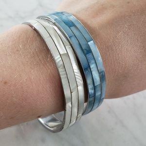 Vintage Abalone Inlay Bangle Bracelets - Set of 2